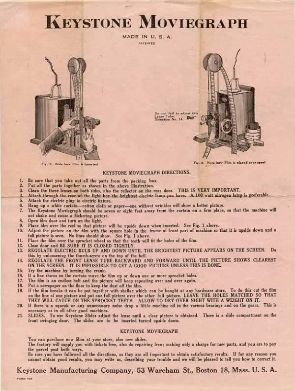 Keystone K 100 8mm Projector Manual